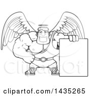 Clipart Of A Cartoon Black And White Lineart Buff Muscular Male Angel With A Blank Sign Royalty Free Vector Illustration