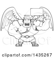 Clipart Of A Cartoon Black And White Lineart Talking Buff Muscular Male Angel Royalty Free Vector Illustration