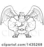 Clipart Of A Cartoon Black And White Lineart Buff Muscular Male Angel Giving Two Thumbs Up Royalty Free Vector Illustration