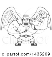 Clipart Of A Cartoon Black And White Lineart Buff Muscular Male Angel Waving Royalty Free Vector Illustration