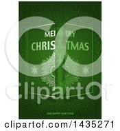 Green Merry Christmas And Happy New Year Sparkle Greeting Background