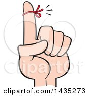 Clipart Of A Cartoon Red Reminder String On A Womans Finger Royalty Free Vector Illustration by Johnny Sajem