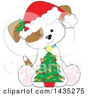 Clipart Of A Cartoon Cute Puppy Dog Wearing A Santa Hat And Sitting With A Little Christmas Tree Royalty Free Vector Illustration