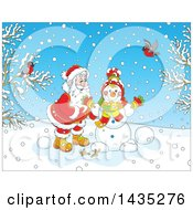 Clipart Of A Cartoon Christmas Scene Of Santa Claus Making A Snowman On A Winter Day With Birds Watching Royalty Free Vector Illustration
