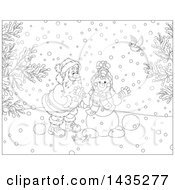 Cartoon Black And White Lineart Christmas Scene Of Santa Claus Making A Snowman On A Winter Day With Birds Watching