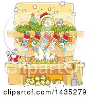 Clipart Of A Cartoon Decorated Christmas Fireplace Hearth Royalty Free Vector Illustration by Alex Bannykh