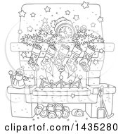 Cartoon Black And White Lineart Decorated Christmas Fireplace Hearth