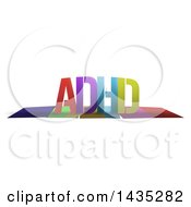 Colorful Word ADHD With Shadows On White
