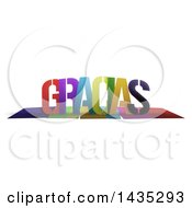 Colorful Word GRACIAS With Shadows On White