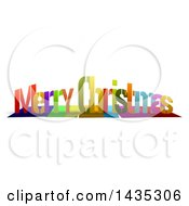Colorful Words MERRY CHRISTMAS With Shadows On White