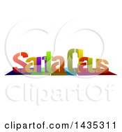 Colorful Words SANTA CLAUS With Shadows On White