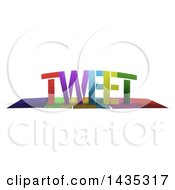 Colorful Word TWEET With Shadows On White