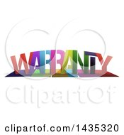Colorful Word WARRANTY With Shadows On White