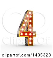 Clipart Of A 3d Retro Theater Light Bulb Styled Number 4 On A White Background With Clipping Path Royalty Free Illustration by stockillustrations
