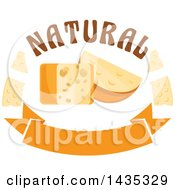 Clipart Of A Cheese Block And Wedge With Text Over A Banner Royalty Free Vector Illustration