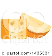 Clipart Of A Cheese Block And Wedge Royalty Free Vector Illustration