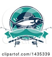 Clipart Of A Tuna Fish Jumping In A Circle Over A Banner Royalty Free Vector Illustration by Vector Tradition SM