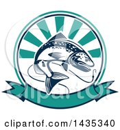Clipart Of A Trout Fish Jumping For A Hook In A Ray Circle Over A Banner Royalty Free Vector Illustration