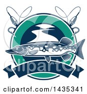 Clipart Of A Pike Fish In A Circle With Fishing Bobbers Line And Hooks Over A Banner Royalty Free Vector Illustration