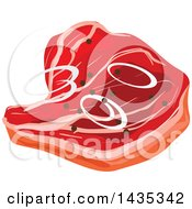 Clipart Of A Beef Steak Or Pork Chop With Onion Slices And Peppercorns Royalty Free Vector Illustration