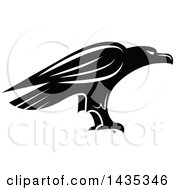 Clipart Of A Black And White Eagle Royalty Free Vector Illustration