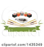 Clipart Of A Row Of Sushi Rolls With Salmon And Nori Over Angled Chopsticks And Soy Sauce Over A Banner Royalty Free Vector Illustration