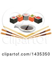Clipart Of A Row Of Sushi Rolls With Salmon And Nori Over Angled Chopsticks And Soy Sauce Royalty Free Vector Illustration by Vector Tradition SM