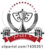 Clipart Of A Bodybuilder Championship Trophy In A Laurel And Star Wreath Over A Barbell And Blank Banner Royalty Free Vector Illustration