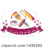 Poster, Art Print Of Crossed Roller And Paintbrush With A Sample Can Over A Banner