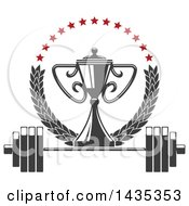 Clipart Of A Bodybuilder Championship Trophy In A Laurel And Star Wreath Over A Barbell Royalty Free Vector Illustration