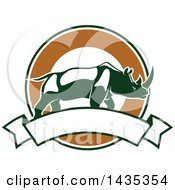 Clipart Of A Big Game Hunting Design Of A Rhinoceros Over A Circle And Banner Royalty Free Vector Illustration by Seamartini Graphics