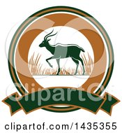 Clipart Of A Big Game Hunting Design Of An Antelope Over A Circle And Banner Royalty Free Vector Illustration