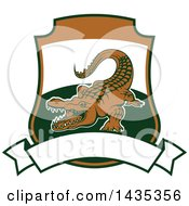 Clipart Of A Big Game Hunting Design Of A Crocodile Or Alligator Over A Shield And Banner Royalty Free Vector Illustration by Vector Tradition SM