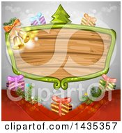 Clipart Of A Wooden Sign Frame With Christmas Gifts A Tree And Bells Royalty Free Vector Illustration