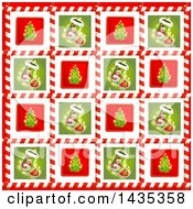 Christmas Background Of Stockings And Tree Tiles In Candy Cane Frames