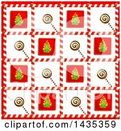 Clipart Of A Christmas Background Of Lolipop And Tree Tiles In Candy Cane Frames Royalty Free Vector Illustration