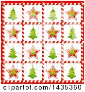 Clipart Of A Christmas Background Of Tree Tiles In Candy Cane Frames Royalty Free Vector Illustration