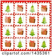 Clipart Of A Christmas Tile Background Of Trees And Gifts In Candy Cane Frames Royalty Free Vector Illustration