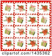 Clipart Of A Christmas Tile Background Of Gifts And Tree Branches In Candy Cane Frames Royalty Free Vector Illustration