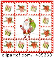 Clipart Of A Christmas Santa Bordered In Gifts And Tree Branches In Candy Cane Frames Royalty Free Vector Illustration