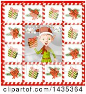 Christmas Elf Bordered In Gifts And Tree Branches In Candy Cane Frames