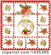 Clipart Of A Christmas Elf Bordered In Gifts And Tree Branches In Candy Cane Frames Royalty Free Vector Illustration