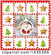 Clipart Of A Christmas Santa Bordered In Trees In Candy Cane Frames Royalty Free Vector Illustration