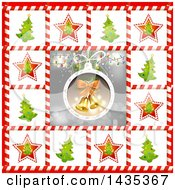 Clipart Of A Christmas Bauble With Lights And Bells Bordered In Trees In Candy Cane Frames Royalty Free Vector Illustration