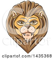 Clipart Of A Male Lion Head With Black Lines Royalty Free Vector Illustration by cidepix