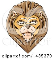 Clipart Of A Demonic Eyed Lion Head With Black Outlines Royalty Free Vector Illustration by cidepix