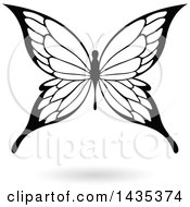 Clipart Of A Black And White Butterfly With A Shadow Royalty Free Vector Illustration by cidepix
