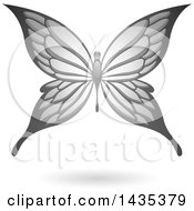 Clipart Of A Flying Gray Butterfly And Shadow Royalty Free Vector Illustration by cidepix