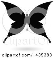 Clipart Of A Black Silhouetted Butterfly With A Shadow Royalty Free Vector Illustration by cidepix