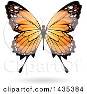 Clipart Of A Pretty Orange Butterfly With A Shadow Royalty Free Vector Illustration by cidepix